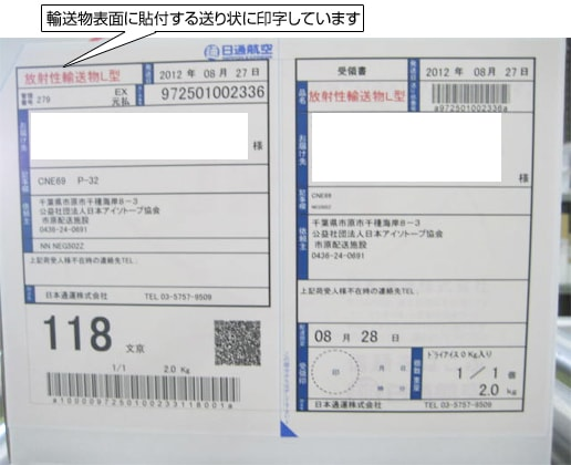 輸送物の表面に添付する送り状に印字